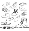 set of men s shoes painted lines vector image