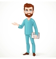 Bearded doctor in green surgical suit holding vector image vector image