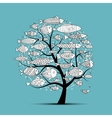 Art fish tree sketch for your design vector image