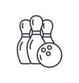 bowling line icon sign on vector image