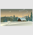 Forest winter landscape with a hut vector image