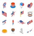 Independence day isometric 3d icons vector image
