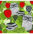 Seamless colorful pattern with birds in glasses vector image