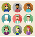 Set of circle flat icons with men vector image