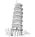Sketch of Italy Landmark Leaning Tower of Pisa vector image