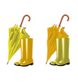 umbrella and rubber boots vector image