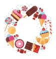 Background with colorful various candy sweets and vector image vector image