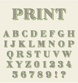 Print technique retro alphabet vector image