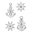 Vintage nautical anchors and helms sketches vector image vector image