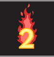 flaming number two vector image
