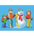 Happy family skiers with snowman vector image