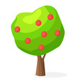 luxuriant green apple-tree with red round fruits vector image
