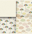 set of seamless pattern with cute sleeping clouds vector image