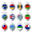 Marker from paper with flag for map - set vector image vector image