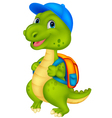 Cute dinosaur with backpack vector image