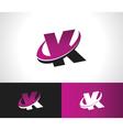 Swoosh Alphabet Icon K vector image