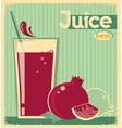 red pomegranate juice on card background vintage vector image