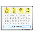 Weather hand drawing line icons vector image vector image
