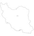 Black White Iran Outline Map vector image