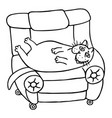 a lazy fat cat is lying on a armchair funny vector image