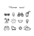 Set of cute summer icons vector image