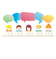 Social Media chat people with computers vector image