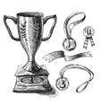 Trophy sketch set vector image