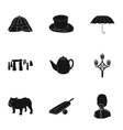 England country set icons in black style Big vector image