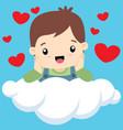 cute little boy on cloud valentine vector image