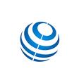 globe sphere stripe communication technology logo vector image