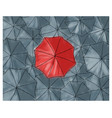 red umbrella in the grey umbrellas - pattern vector image