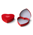 Opened and closed red gift box in shape of heart vector image