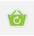 simple green icon - shopping basket refresh vector image