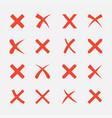 cross icon set vector image