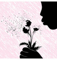 Girl women or kid blowing on dandelion flower vector image vector image