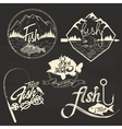 set of fishing club labels design elements vector image vector image