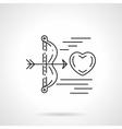 Cupids arrow shoots heart flat line icon vector image