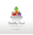 Healthy food logo icon with fruits vegetables and vector image