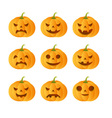 Set of 9 carved pumpkins vector image