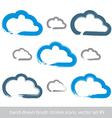 Set of hand-drawn simple stroke cloud icons vector image