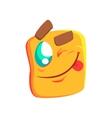 Yellow Winking Emoji Cartoon Square Funny vector image