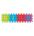 KIDS written with alphabet puzzle vector image vector image