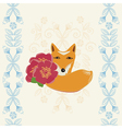 Happy Birthday card with a fox and flowers vector image vector image