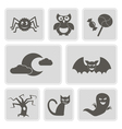 monochrome icons with symbols of Halloween vector image