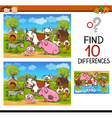 differences test with farm animals vector image vector image