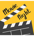 Big open clapper board Movie night text Lettering vector image
