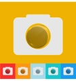 modern camera icon with circle glass set vector image