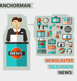 Profession of people Flat infographic Anchorman vector image