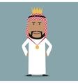 Proud arabian businessman with golden crown vector image