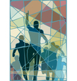 Winning runner mosaic vector image